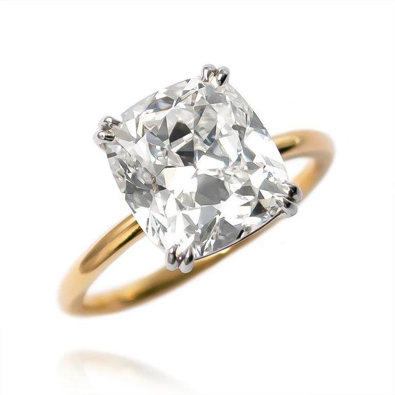Cushion Cut J. Birnbach GIA Certified 4.21 Carat Cushion Brilliant Diamond Solitaire Ring For Sale