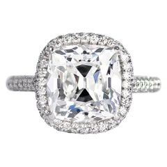 J. Birnbach GIA Certified 4.27 Carat Cushion Brilliant Cut Diamond Pavé Ring