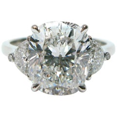 J. Birnbach GIA Certified 4.37 Carat Cushion E VS1 Diamond Ring