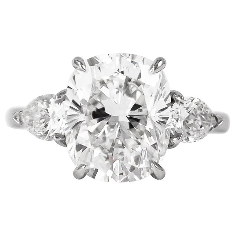 J. Birnbach GIA Certified 4.37 Carat E VS1 Cushion Cut Diamond Three-Stone Ring