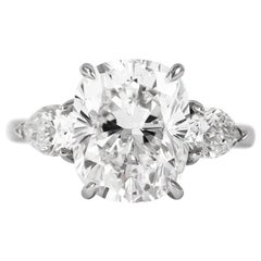 J. Birnbach GIA Certified 4.37 Carat E VS1 Cushion Cut Diamond Three-Stone Ring