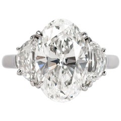 J. Birnbach GIA Certified 4.43 Carat Oval Diamond Three-Stone Ring