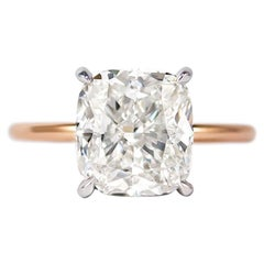 J. Birnbach GIA Certified 4.50 Carat Cushion Cut G VS1 Solitaire Ring