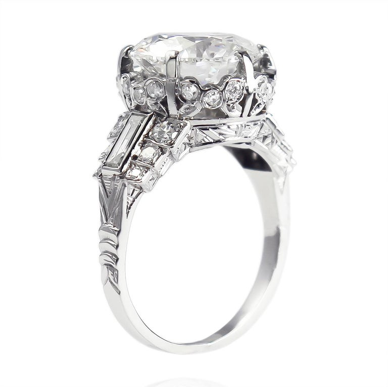 Round Cut J. Birnbach GIA Certified 4.51 Carat I SI1 Round Brilliant Diamond Vintage Ring For Sale