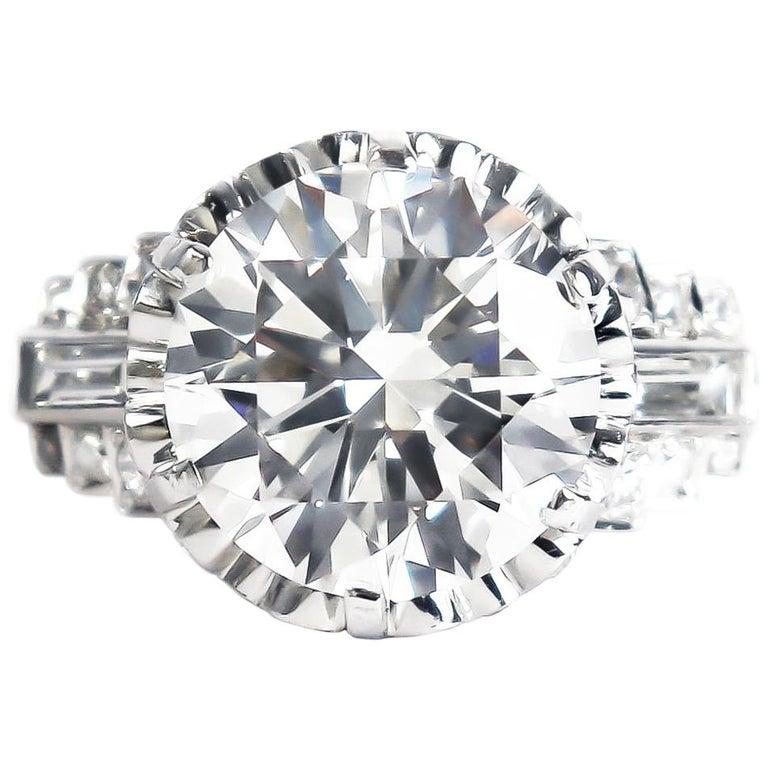 J. Birnbach GIA Certified 4.51 Carat I SI1 Round Brilliant Diamond Vintage Ring For Sale