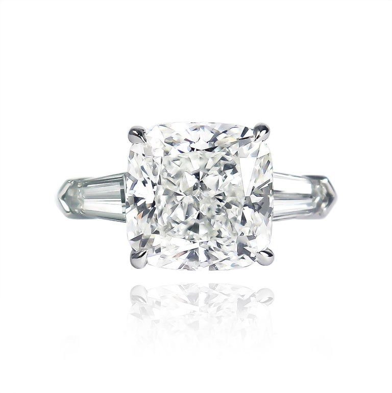 Contemporary J. Birnbach GIA Certified 4.54 Carat H SI2 Cushion Diamond Three-Stone Ring For Sale