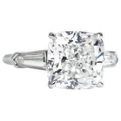 J. Birnbach GIA Certified 4.54 Carat H SI2 Cushion Diamond Three-Stone Ring