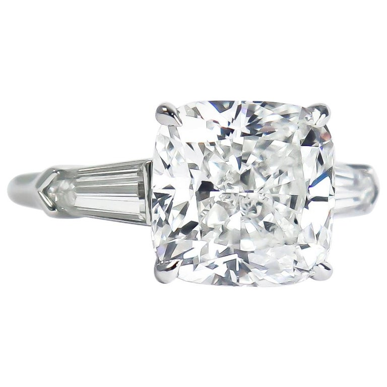 J. Birnbach GIA Certified 4.54 Carat H SI2 Cushion Diamond Three-Stone Ring For Sale