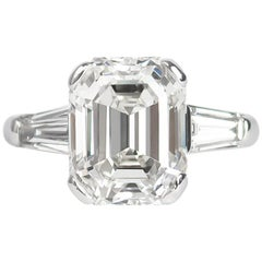 J. Birnbach GIA Certified 4.57 Carat Emerald Cut Diamond Ring