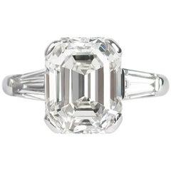 J. Birnbach GIA Certified 4.57 Carat Emerald Cut Diamond Ring