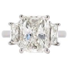 J. Birnbach GIA Certified 4.58 Carat Radiant Three-Stone Ring
