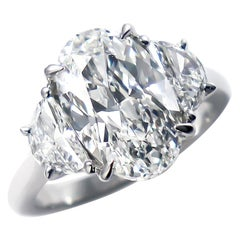 J. Birnbach GIA Certified 4.62 Carat Oval Diamond Three-Stone Ring