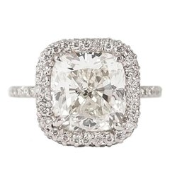 J. Birnbach GIA Certified 4.64 Carat Cushion Modified Brilliant Diamond Ring