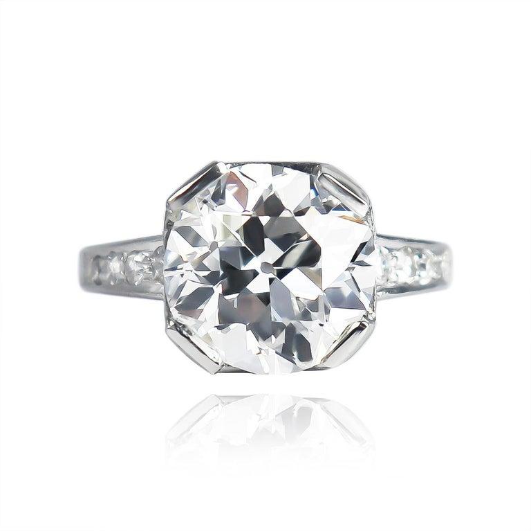 Art Deco J. Birnbach GIA Certified 4.68 Carat E VS2 Old European Cut Diamond Vintage Ring For Sale