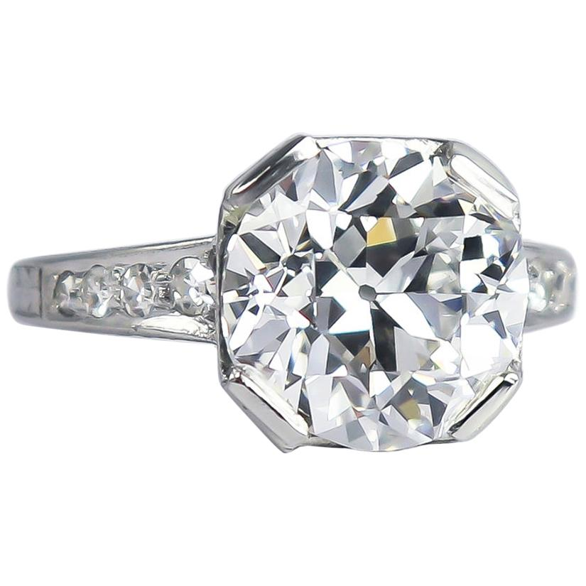 J. Birnbach GIA Certified 4.68 Carat E VS2 Old European Cut Diamond Vintage Ring