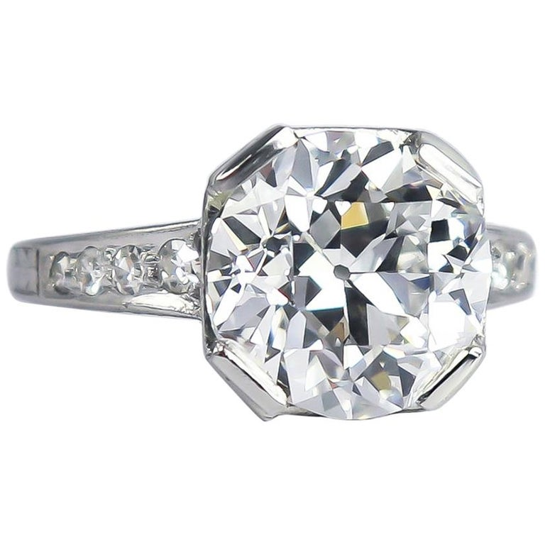 J. Birnbach GIA Certified 4.68 Carat E VS2 Old European Cut Diamond Vintage Ring For Sale