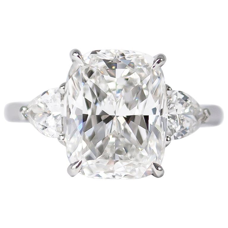 J. Birnbach GIA Certified 5.00 Carat E VS1 Cushion Three-Stone Ring