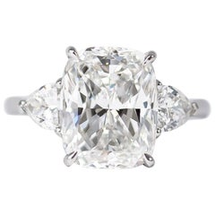 J. Birnbach GIA Certified 5.00 Carat E VS1 Cushion Three-Stone Ring
