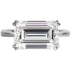 J. Birnbach GIA Certified 5.01 Carat F SI1 Emerald Cut Diamond Solitaire Ring