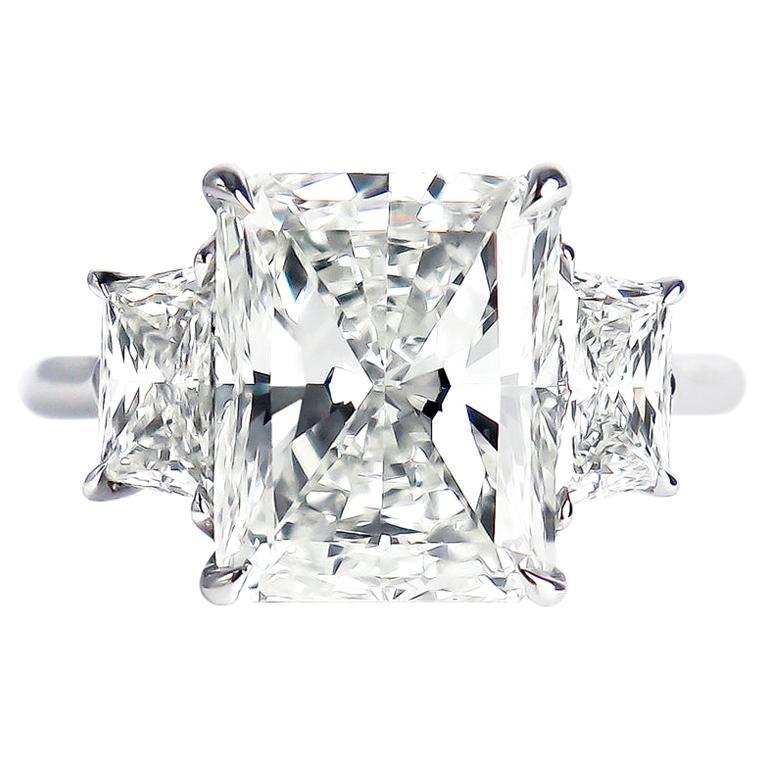 J. Birnbach GIA Certified 5.01 Carat Radiant Cut Diamond Three-Stone Ring