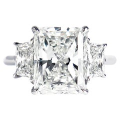 J. Birnbach GIA Certified 5.01 Carat Radiant Cut Diamond Three-Stone Ring