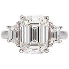 J. Birnbach GIA Certified 5.02 Carat G VVS1 Emerald Cut Three-Stone Ring