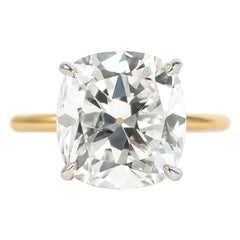 J. Birnbach GIA Certified 5.17 Carat Antique Cushion Brilliant Diamond  Ring