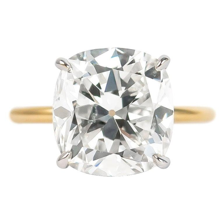 J. Birnbach GIA Certified 5.03 Carat Cushion Brilliant Diamond Solitaire Ring For Sale