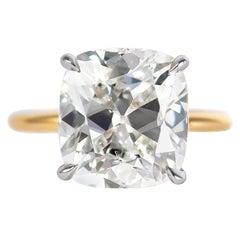 J. Birnbach GIA Certified 5.04 Carat Cushion Brilliant Diamond Solitaire Ring