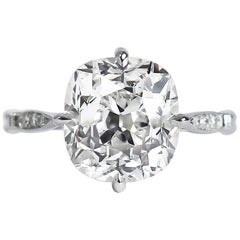 J. Birnbach GIA Certified 5.05 Carat E SI1 Old Mine Cut Diamond Ring