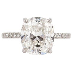 J. Birnbach GIA Certified 5.06 Carat Cushion Cut Diamond Ring