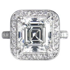 J. Birnbach GIA Certified 5.20 Carat H VS2 Asscher Cut Diamond Pavé Ring