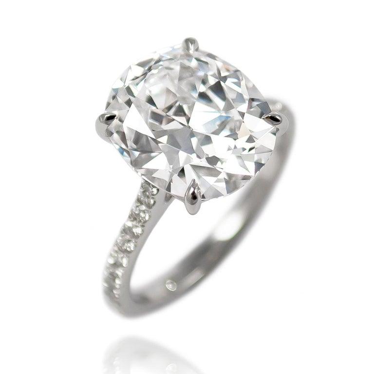Contemporary J. Birnbach GIA Certified 5.23 Carat Cushion Brilliant Cut E VS2 Diamond Ring For Sale