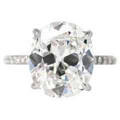 J. Birnbach GIA Certified 5.23 Carat Cushion Brilliant Cut E VS2 Diamond Ring