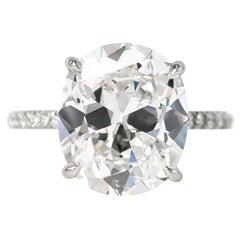 J. Birnbach GIA Certified 5.23 Carat Cushion Brilliant Cut E VS2 Diamond Ring