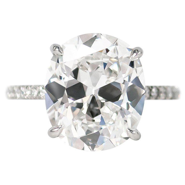 J. Birnbach GIA Certified 5.23 Carat Cushion Brilliant Cut E VS2 Diamond Ring For Sale
