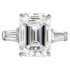 J. Birnbach GIA Certified 5.43 Carat E VVS2 Emerald Cut Diamond Ring