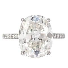 J. Birnbach GIA Certified 5.53 Cushion Brilliant Diamond Ring
