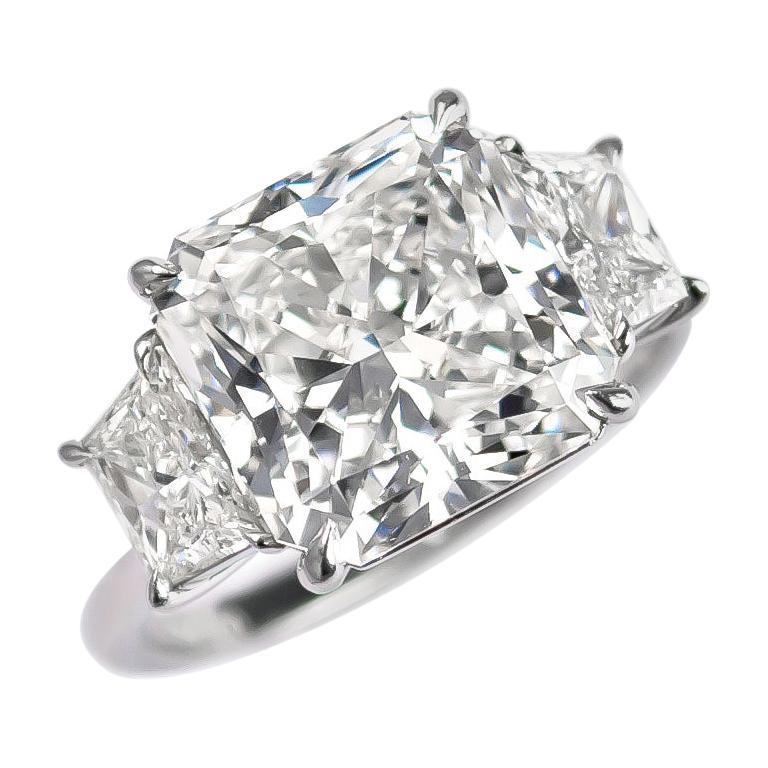 J. Birnbach GIA Certified 6.58 Carat Radiant Cut Diamond Three-Stone Ring