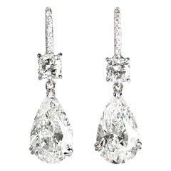 J. Birnbach GIA Certified 6.98 Carat D color Cushion and Pear Diamond Earrings