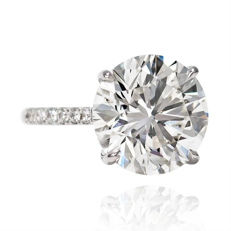 Contemporary J. Birnbach GIA Certified 7.02 Carat Brilliant Round Diamond Ring For Sale