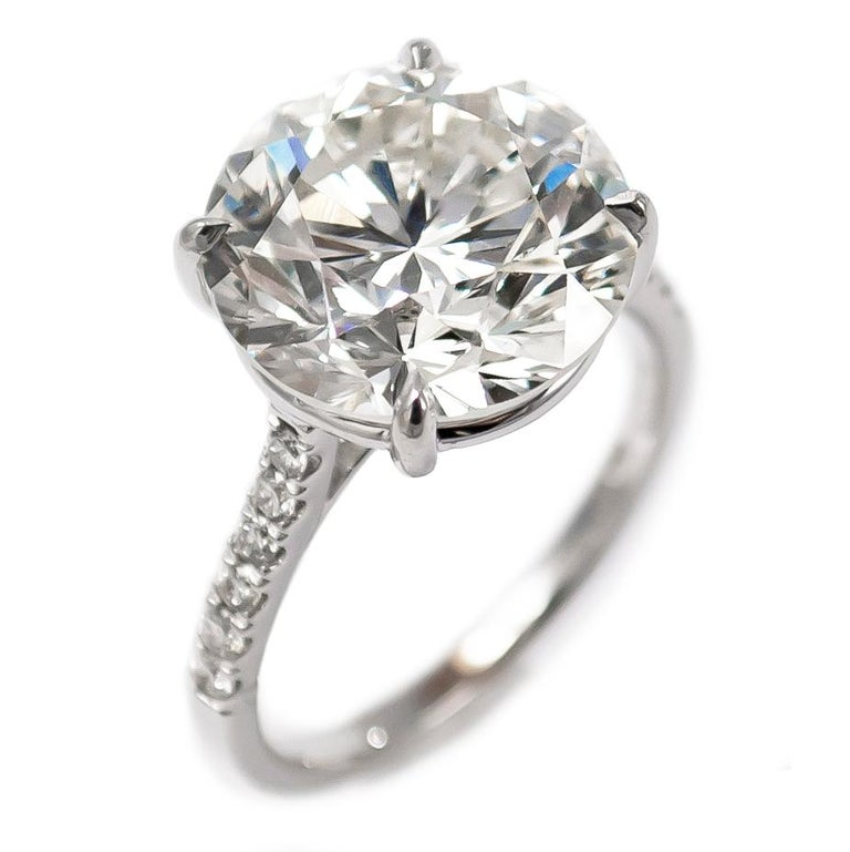 Round Cut J. Birnbach GIA Certified 7.02 Carat Brilliant Round Diamond Ring For Sale