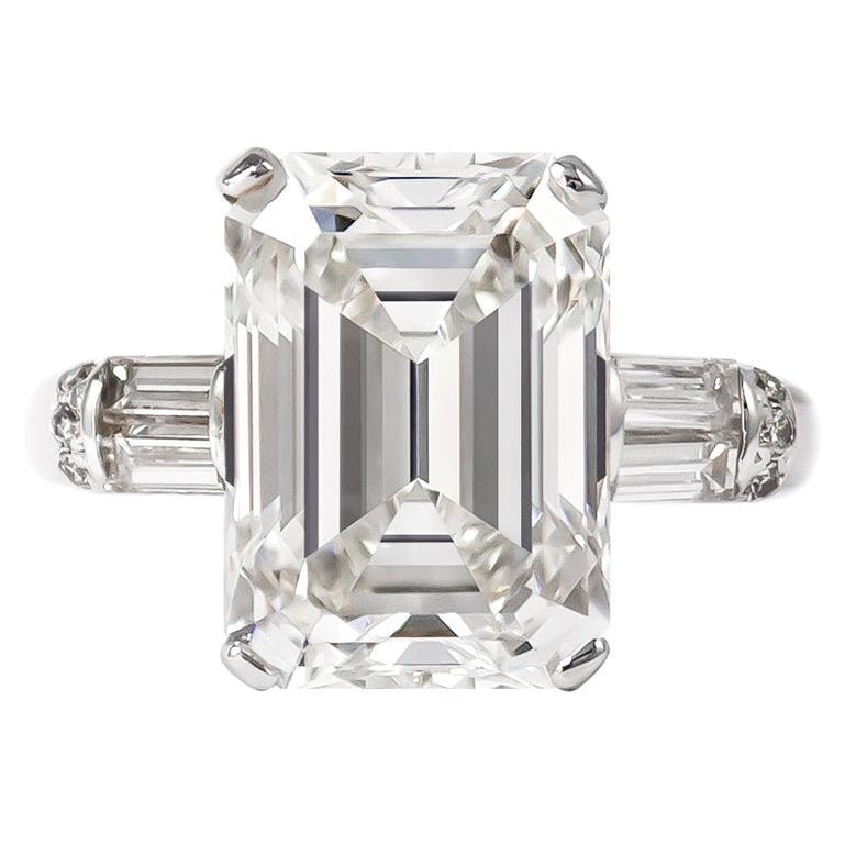 J. Birnbach GIA Certified 7.12 Carat H VS1 Emerald Cut Diamond Ring