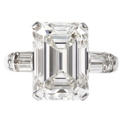 J. Birnbach GIA Certified 7.12 Carat H VS1 Emerald Cut Diamond Ring