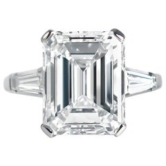 J. Birnbach GIA Certified 7.20 Carat F VVS2 Emerald Cut Diamond Ring