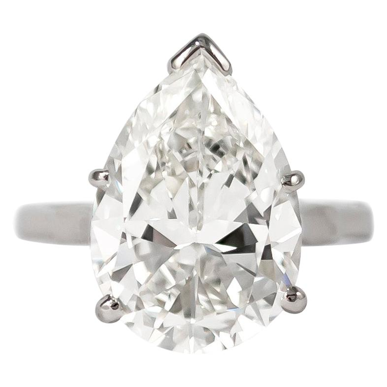 J. Birnbach GIA Certified 7.20 Carat Pear Shape Solitaire Ring