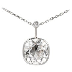 J. Birnbach GIA Certified 7.27 Ct Old Mine Brilliant 'Cushion' Diamond Pendant