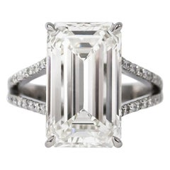 J. Birnbach GIA Certified 7.32 Carat Emerald Cut Split Shank Engagement Ring