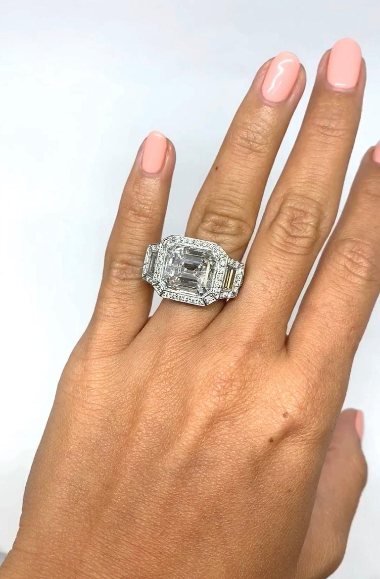 Contemporary J. Birnbach GIA Certified 7.34 Carat Emerald Cut Diamond Ring  For Sale
