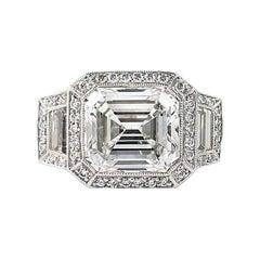 J. Birnbach GIA Certified 7.34 Carat Emerald Cut Diamond Ring
